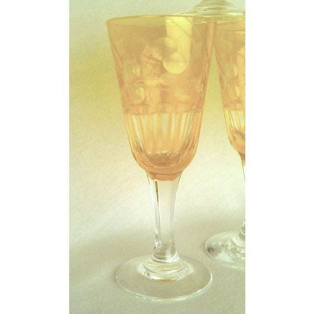 Traditional Victorian Amber Cut to Clear Sherry Stemware - Set of 6 For Sale - Image 3 of 7