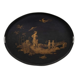 Vintage Tole Handpainted Chinoiserie Style Oval Tray For Sale