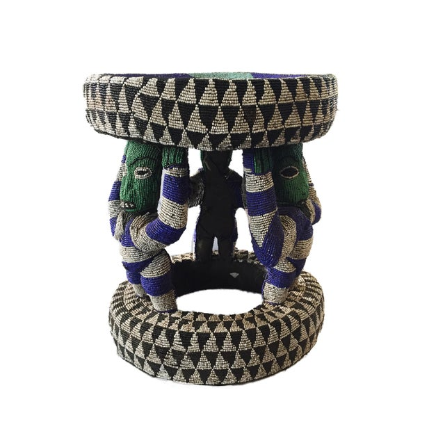 "African Beaded wood Bamileke Stool /Table Cameroon 19'""H For Sale - Image 4 of 12"