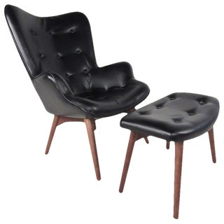 Mid-Century Style Wingback Lounge Chair With Ottoman For Sale