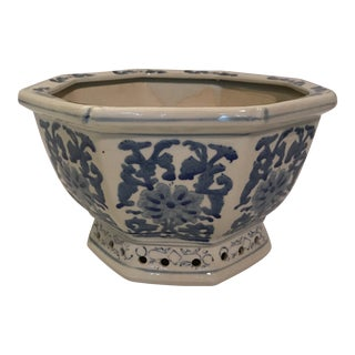 Blue and White Chinese Porcelain Octagonal Planter