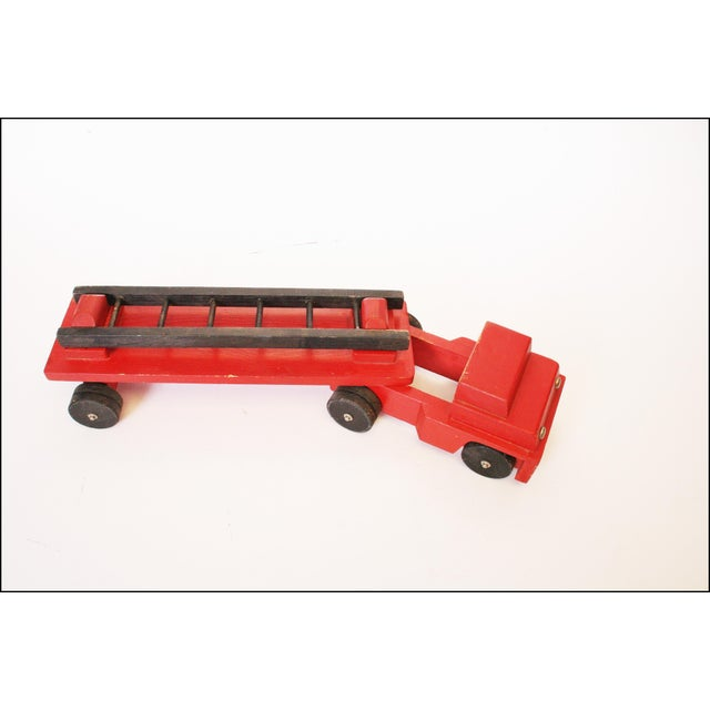 Vintage Hand Carved Wood Toy Fire Truck & Ladder Company - Image 9 of 11