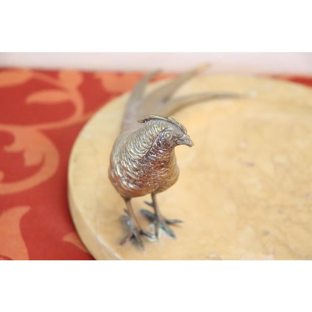 1960s 20th Century Italian Artistic Marble Plate With Gilded Bronze Bird Sculpture For Sale - Image 5 of 8