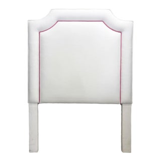White and Hot Pink Upholstered Twin Headboard For Sale