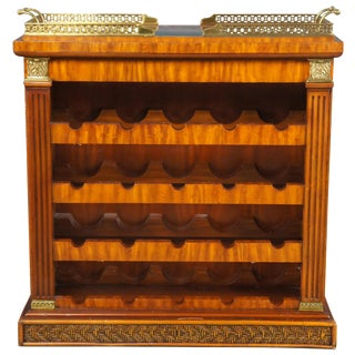 Maitland Smith Neoclassical Style Walnut Wine Rack With Removable Serving Tray For Sale