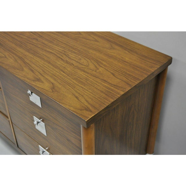 Vintage Mid Century Modern Walnut & Chrome 9 Drawer Credenza Dresser With Mirror For Sale - Image 11 of 12