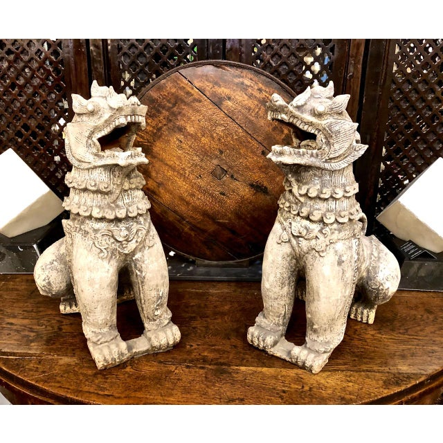 Antique Chinese Terra Cotta Foo Dogs-a Pair For Sale - Image 13 of 13
