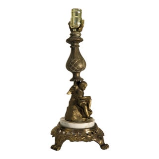French Cupid Motif Table Lamp For Sale