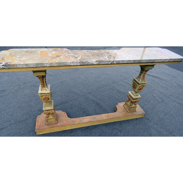 Cream Florentine Marble Top Console Table For Sale - Image 8 of 9
