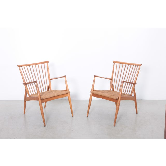 Brown Pair of German Studio Lounge Chairs in Ash and Papercord For Sale - Image 8 of 8