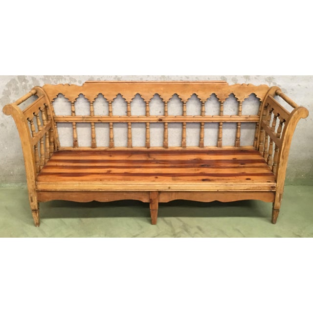 Mid-Century Modern 19th Century Large Pine Country Bench or Daybed For Sale - Image 3 of 11