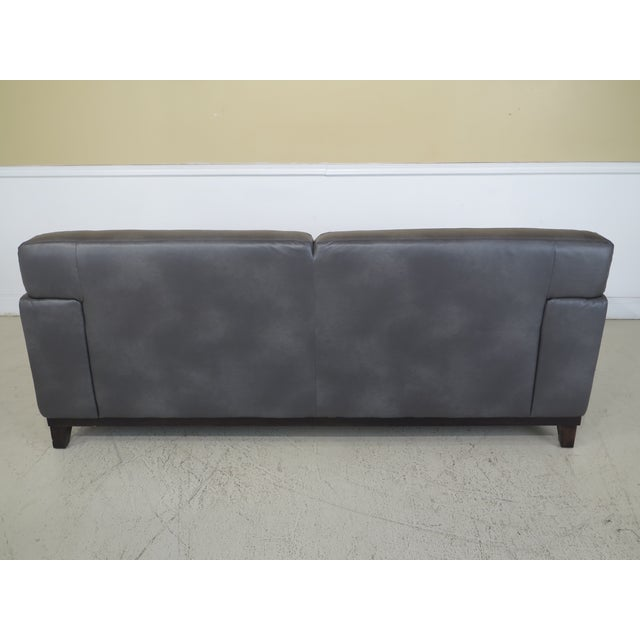 Modern Grey Leather 2 Cushion Sofa For Sale - Image 10 of 11