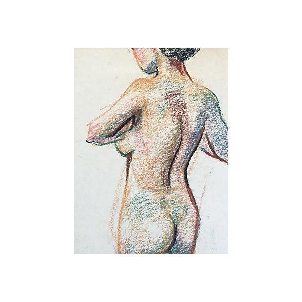 Mid-Century Modern Pastel Nude Female Mid-Century Artist Study For Sale - Image 3 of 4