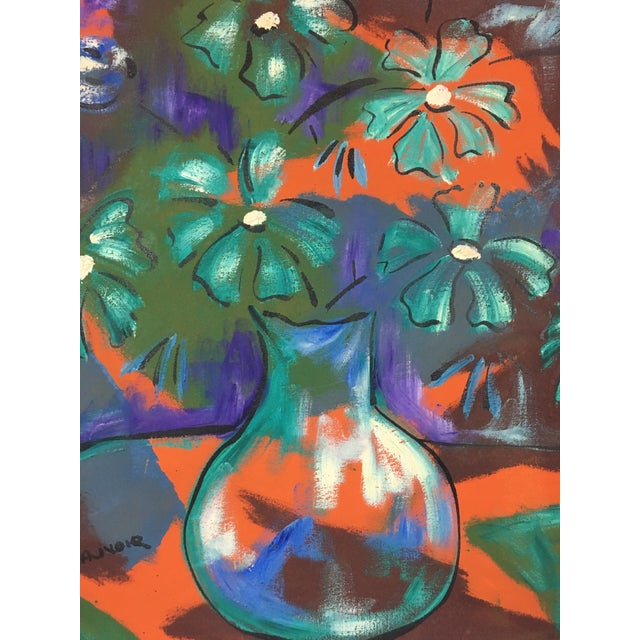 1960s Vintage Original Haitian Floral Still Life Oil Painting by Listed Artist Paul Beauvoir For Sale - Image 12 of 13
