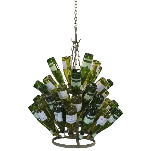 Vintage French Bottle Rack Chandelier For Sale - Image 5 of 5