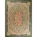 Image of Contemporary Green and Orange Geometric-Floral Wool Rug - 8′ × 11′ For Sale
