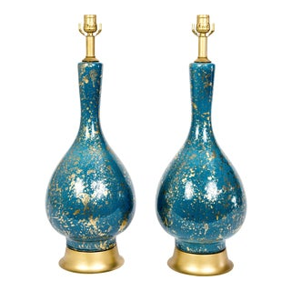 Vintage Mid-Century Gold Speckled Turquoise Ceramic Lamps - A Pair For Sale