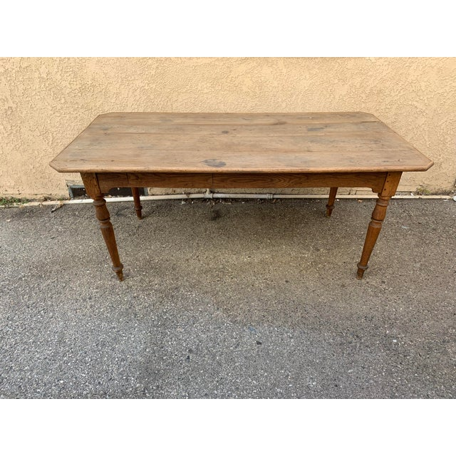 Authentic antique French farm table imported from Normandy. Made in the late 19th century.