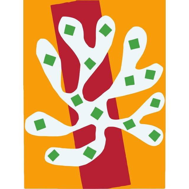 Abstract Henri Matisse White Alga on Orange and Red Background Poster Print Art For Sale - Image 3 of 3