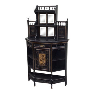 20th Century Aesthetic Movement Ebonized and Gilt Decorated Cabinet For Sale