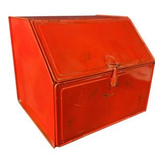 Vintage Red Metal Bread Box For Sale