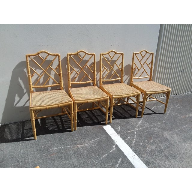 1970s Set of Four Faux Bamboo Carved Wood Chairs For Sale - Image 5 of 12