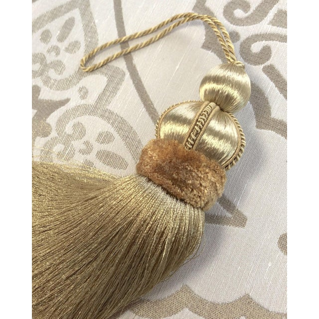 Gold Key Tassels With Cut Velvet Ruche- a Pair For Sale - Image 9 of 11