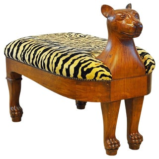 Egyptian Revival Upholstered Carved Hardwood Lion Bench or Ottoman For Sale