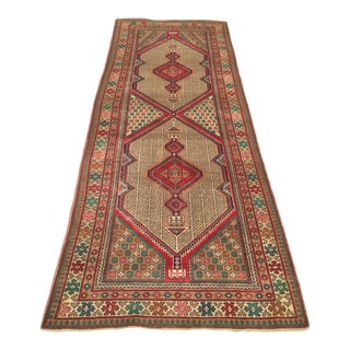 Early 20th Century Antique Hand-Knotted Caucasian Runner Rug - 4′4″ × 11′9″ For Sale