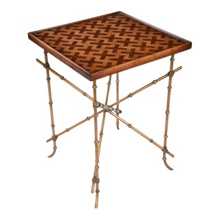 Parquetry Inlaid Occasional Table With Brass Base For Sale