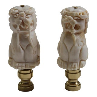 Foo Dog Lamp Finials - a Pair For Sale
