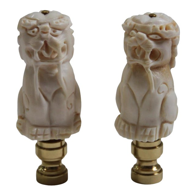 Foo Dog Lamp Finials - Pair - Image 1 of 4