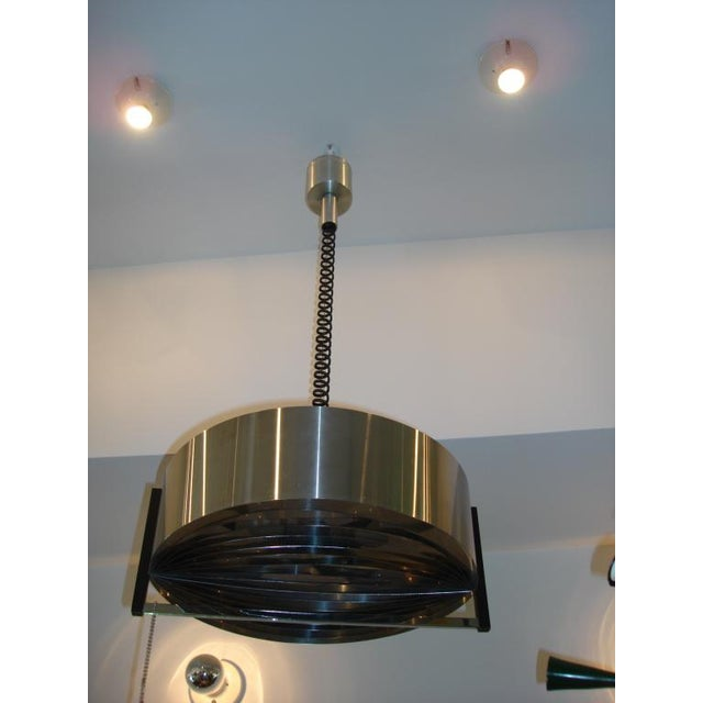 Vintage French Modernist Stainless Steel Hanging Light - Image 2 of 4