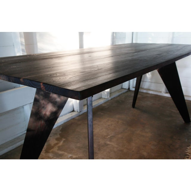 "Mid-Century Handmade Black Dining Utility Table 71"" For Sale In San Antonio - Image 6 of 12"