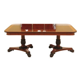 1990s Neoclassical Baker Banded Top Mahogany Dining Room Table For Sale