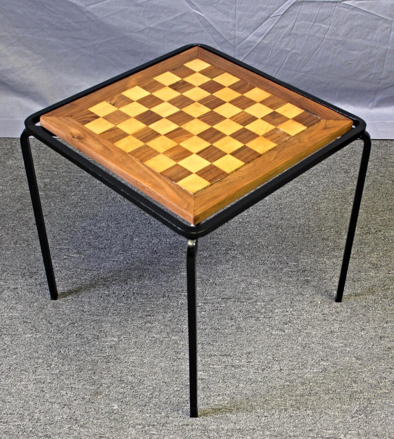 This Elegant Parquetry Inlaid And Iron Frame Chess/checkers Game Table Is A  Real Beauty
