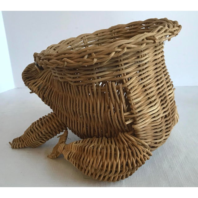 20th Century Country Wicker Frog Planter Basket For Sale - Image 4 of 9