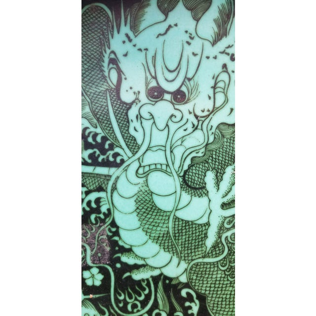 Asian Green Dragon Charger Plate For Sale - Image 3 of 6