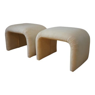 Mid Century Modern White Waterfall Benches - a Pair For Sale
