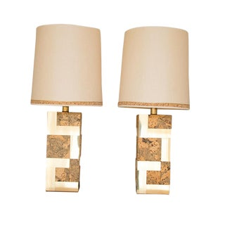 Mid-Century Paul Evans Cityscape Brass and Cork Table Lamps with Shades - a Pair For Sale
