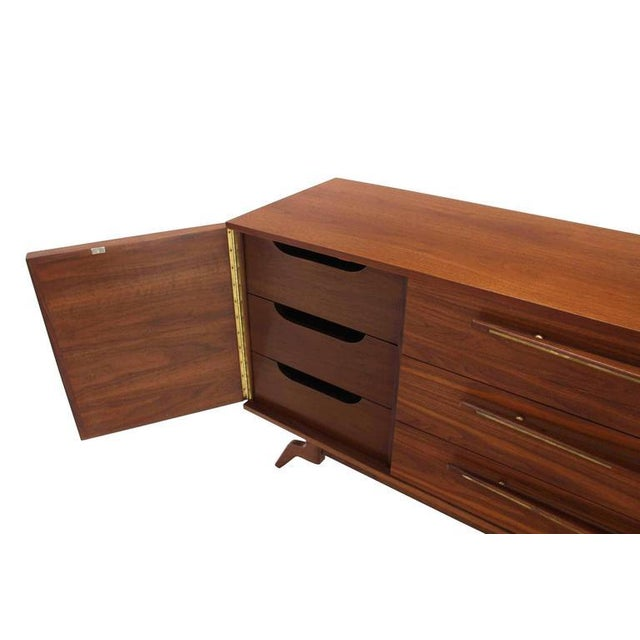 Early 20th Century Outstanding Mid-Century Walnut Dresser with Heavy Sculptural Hardware For Sale - Image 5 of 8