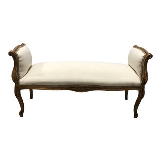 20th Century French Giltwood Arm Bench