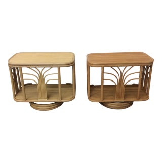Boho Chic Bamboo Swivel End Tables - A Pair