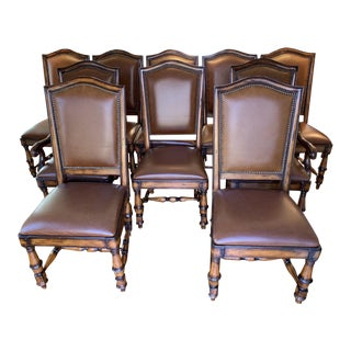 21st Century Vintage Hooker Wynterhall Collection Leather With Nailhead Trim Dining Chairs- Set of 10 For Sale