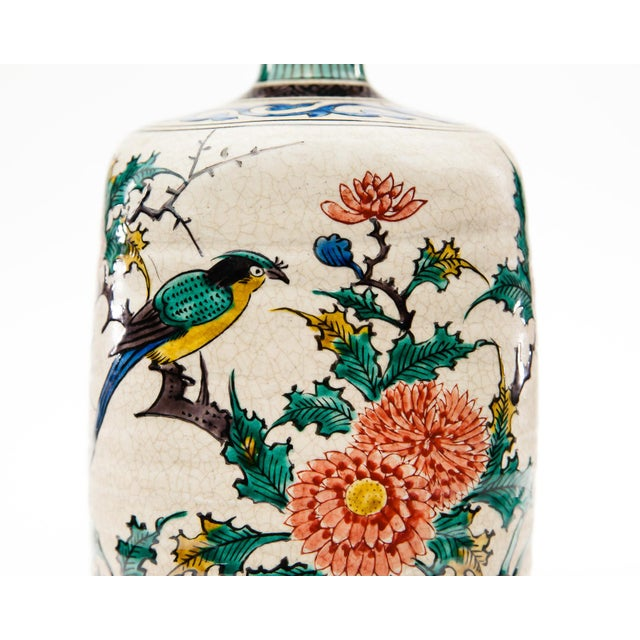 Ceramic Late-20th Century Kutani Square Hand-Painted Vase For Sale - Image 7 of 9