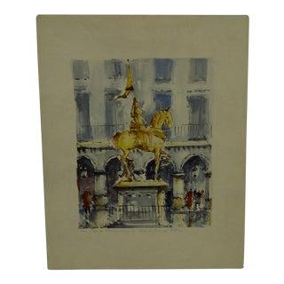 "Hand-Colored French ""Paris - Statue De Jeanne D'arc"" Print by Hubert"