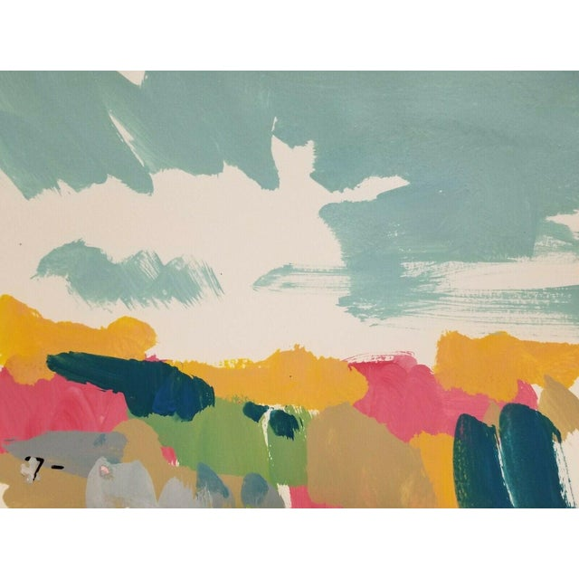 Jose Trujillo Landscape Original Modernist Acrylic on Paper Painting For Sale