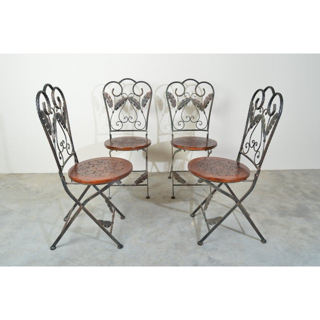 French Country 4 Folding French Bistro Chairs in Oak and Wrought Iron For Sale - Image 3 of 7