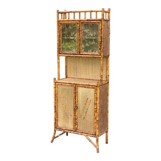 Antique French Scorched Tortoise Bamboo Cabinet For Sale