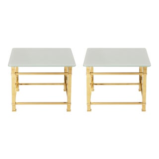 Pair of Brass Side Tables With Reverse Painted Tops, C. 1950 For Sale